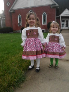 Kalie and Anja in the dresses I made them.